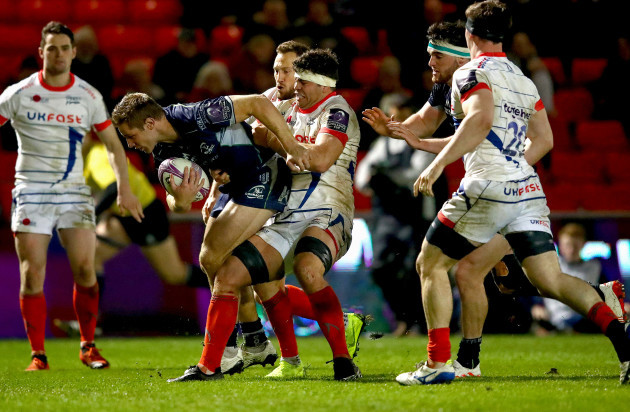 Kyle Godwin is tackled by Jono Ross