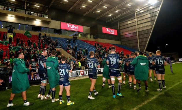 Connacht players applaud the fans