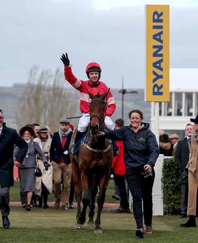 Noel Fehily onboard Eglantine Du Seuil celebrates winning