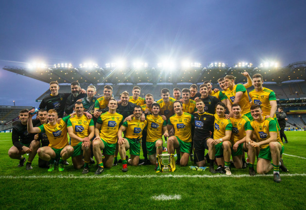 Donegal with the trophy after the game