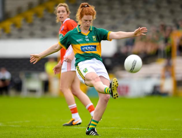 Kerry's Louise Ni Muircheartaigh kicks a point