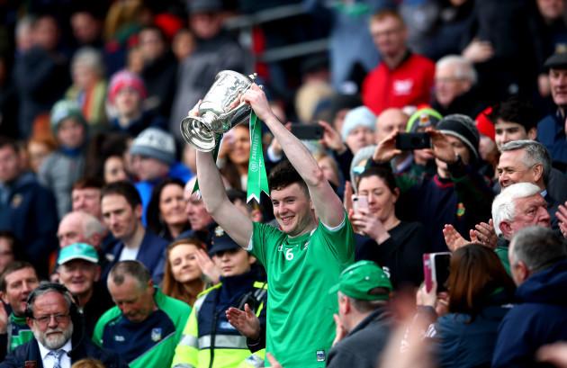 Declan Hannon lifts the trophy