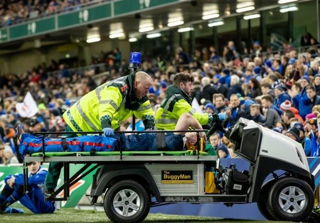 Dan Leavy leaves the field injured