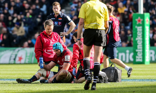 Tadhg Beirne receives treatment