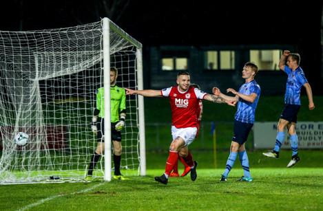 Michael Drennan celebrates scoring a goal