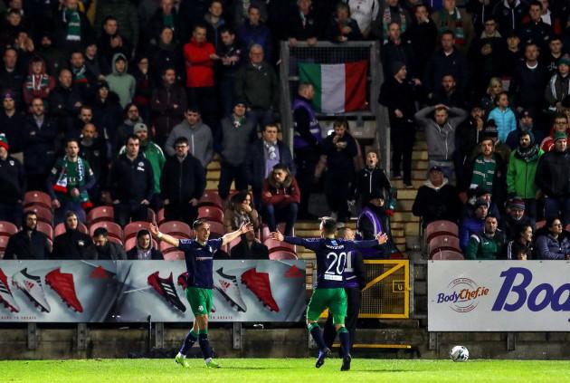 Aaron McEneff celebrates his sides third goal
