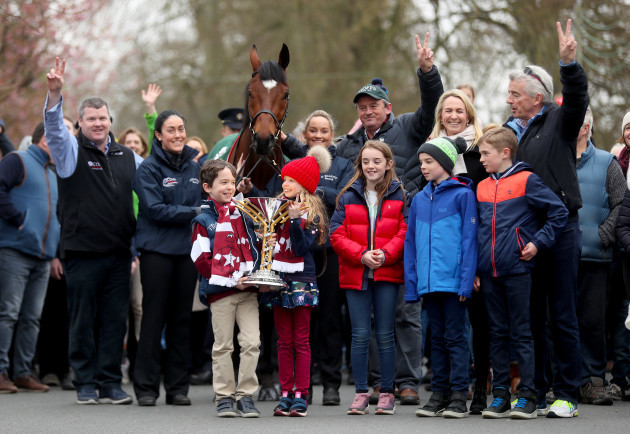 Tiger Roll is paraded through the village of Summerhill