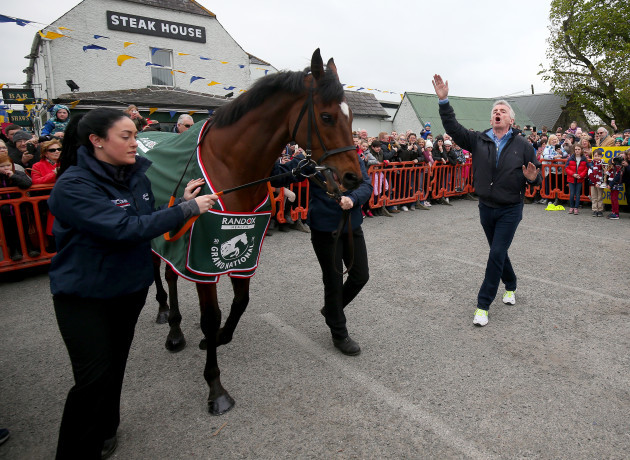 Tiger Roll and owner Michael O'Leary in the enclosure