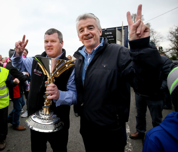 Gordon Elliott and Michael O'Leary with the 2019 Aintree Grand National trophy