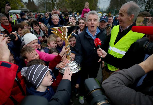 Michael O'Leary with the 2019 Randox Health Aintree Grand National trophy