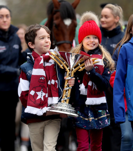 Michael O'Leary's kids Zac and Tiana holding the Cup