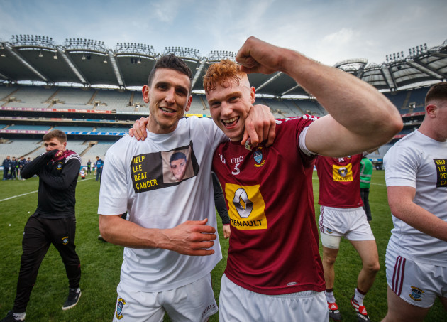 Denis Corroon and Ronan Wallace celebrate after the game
