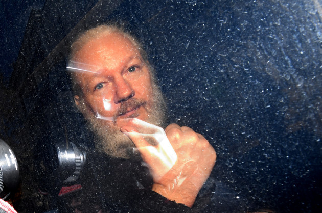 Assange arrives at Westminster Magistrates' Court in London.