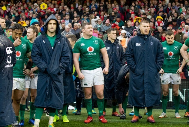 Dejected Ireland players after the game