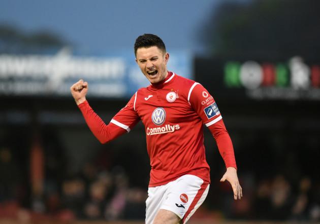John Dunleavy celebrates his side's second goal