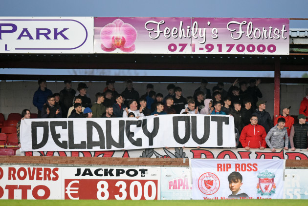 Sligo fans unveil a banner during the first-half