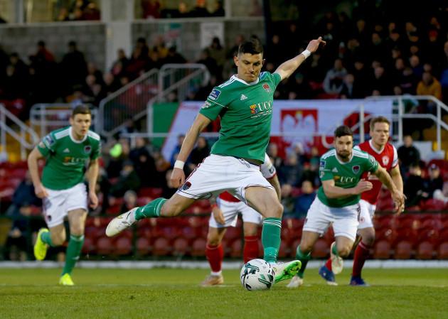 Graham Cummins scores a penalty