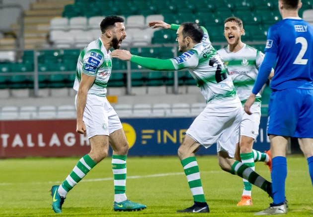 Roberto Lopes celebrates scoring a goal with Joey O'Brien