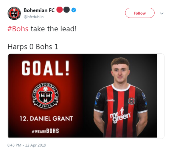 9d703216446 Grant's goal the difference as Bohs stay second with win at rock ...