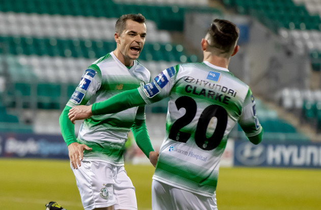 Sean Kavanagh celebrates scoring a goal with Trevor Clarke