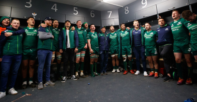 The team sing 'The Fields of Athenry' in the dressing room after the game