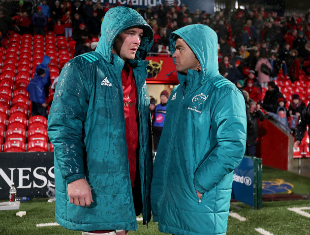 Peter O'Mahony with Johann van Graan after the game