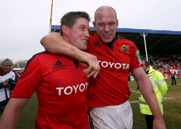 Ronan O'Gara and Paul O'Connell celebrate