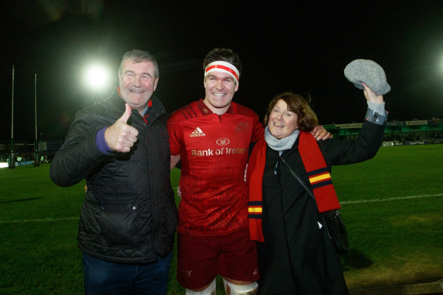 Billy Holland with his parents Jerry and Jean after he made his 200th apearance