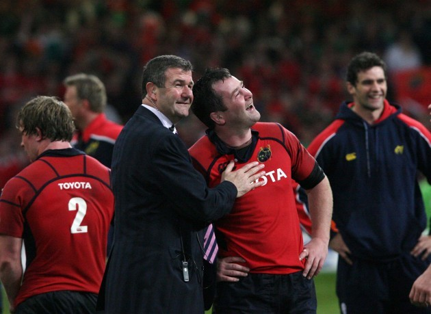 Jerry Holland and Anthony Foley celebrate
