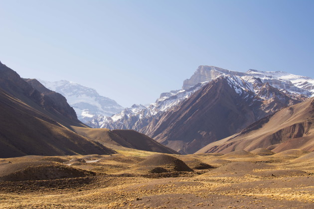 High Altitude Valley Leading To Mount Aconcagua In The Distance; Mendoza, Argentina