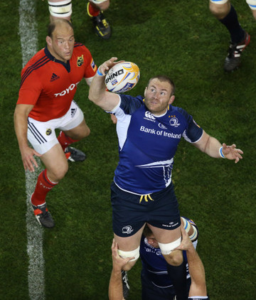 Leinster Damian Browne wins a lineout