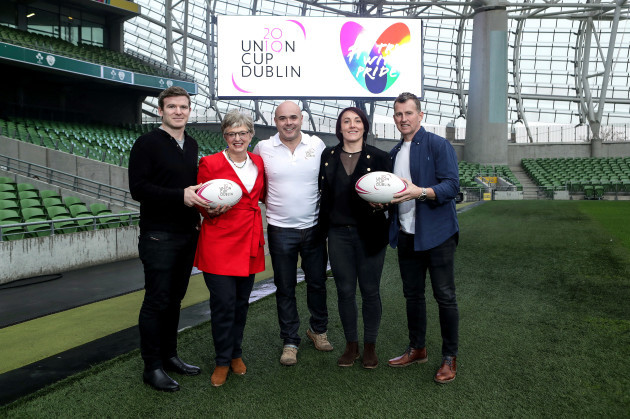 Gordon D'Arcy, Katherine Zaappone, Richie Fagan, Lindsay Peat and Nigel Owens