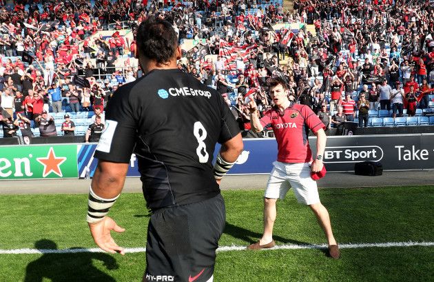 Billy Vunipola is confronted by a Munster fan after the game