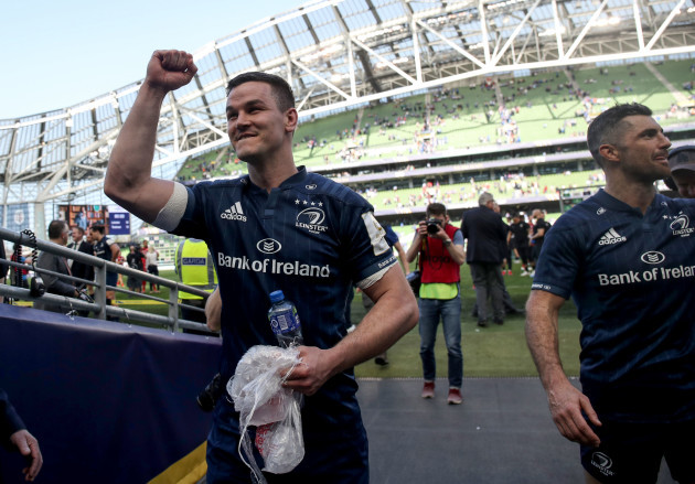Johnny Sexton and Rob Kearney celebrate after the game