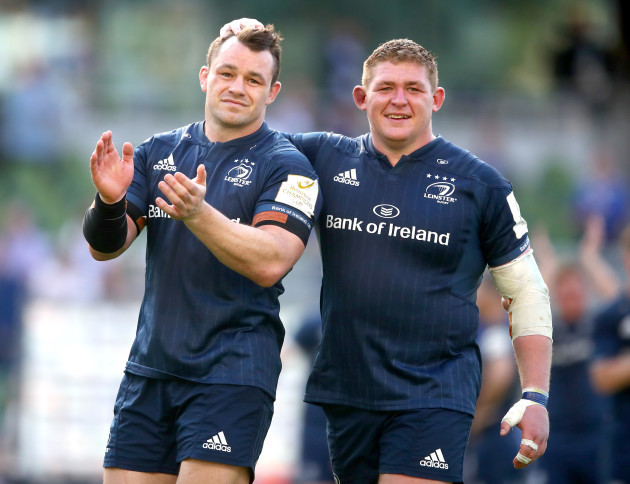 Cian Healy and Tadhg Furlong celebrate