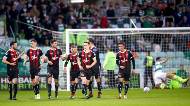 Bohs players celebrate after Dinny Corcoran scored his sides opening goal