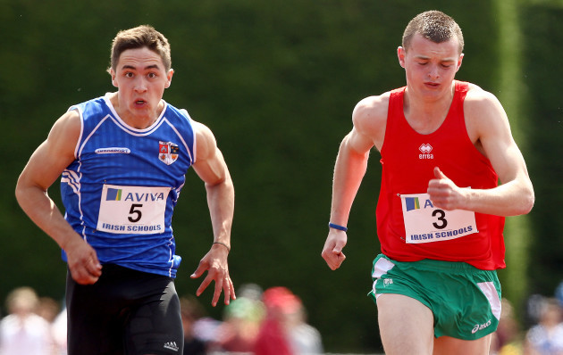 Marcus Lawlor on the way to winning the Intermediate Boys 100M final