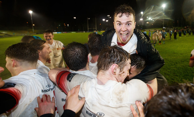 Ronan Quinn celebrates at the final whistle