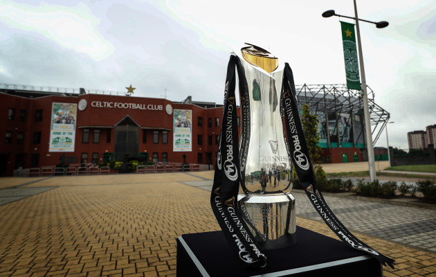 The Guinness PRO14 trophy outside Celtic Park
