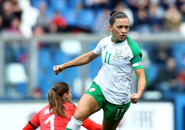Katie McCabe celebrates scoring their first goal