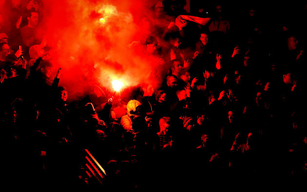 St. Patrick's Athletic fans set off flares