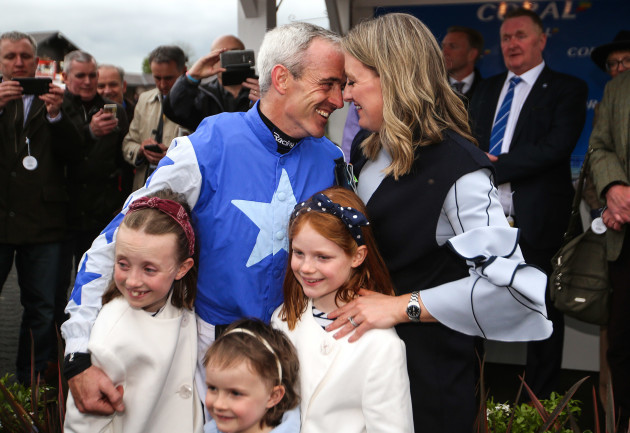Ruby Walsh with his wife Gillian and daughters Isabelle, Elsa and Gemma after announcing his retirement