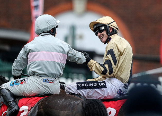 Ruby Walsh onboard Nichols Canyon is congratulated on winning the race by Katie Walsh onboard Clondaw Warrior