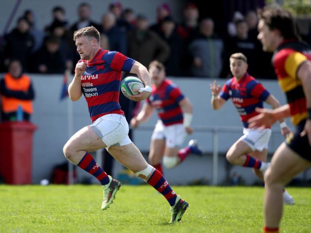 Sean O'Brien runs in a try