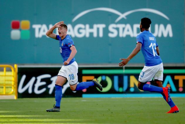 Nicholas Bonfanti celebrates scoring a goal