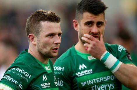 Jack Carty and Tiernan O'Halloran dejected after the game