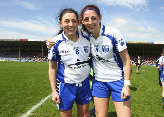 Louise Ryan and Michelle Ryan celebrate winning