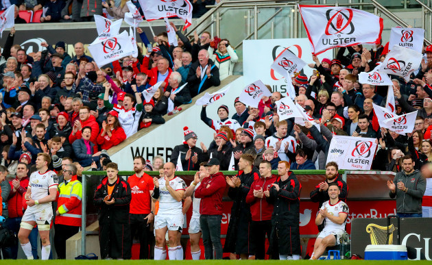 Ulster celebrate Billy Burns scoring a conversion