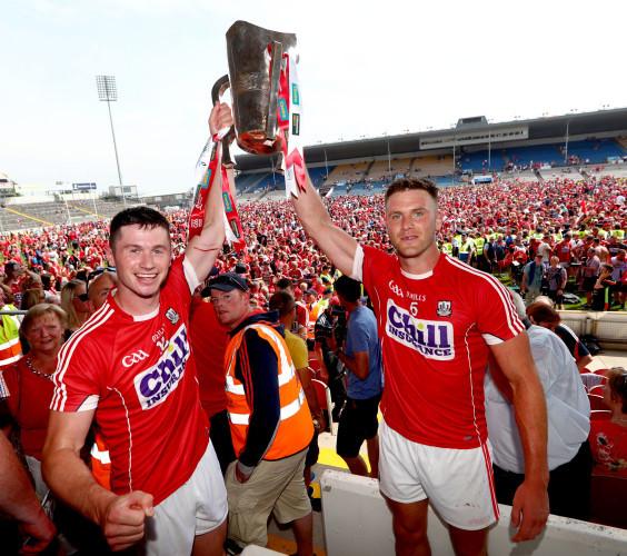 Seamus Harnedy and Eoin Cadogan celebrate
