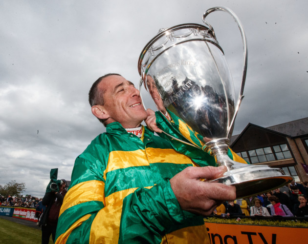Davy Russell celebrates after winning The BETDAQ Punchestown Champion Hurdle on Buveur D'Air